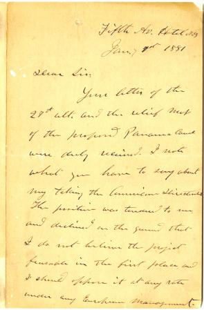 Ulysses S. Grant to Nathan Appleton, January 7, 1881 (Gilder Lehrman Collection)