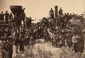 Joining of the rails at Promontory Point, photograph by Andrew J. Russell, May 10, 1869 (Gilder Lehrman Collection)