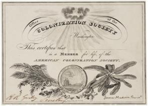 American Colonization Society membership certificate, 1833. (GLC)
