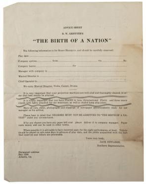 Blank Advice sheet for The Birth of a Nation, 1915. (Gilder Lehrman Collection)