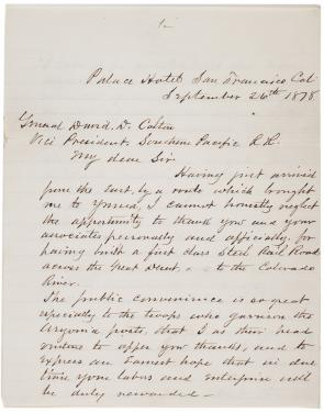 William T. Sherman to David Douty Colton, September 26, 1878 (Gilder Lehrman Collection)