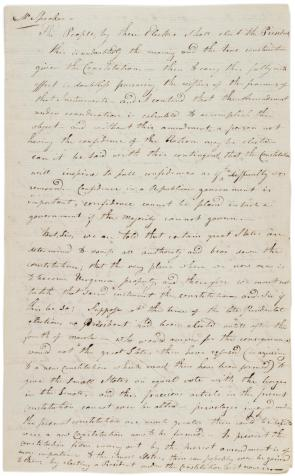 Timothy Pickering, Speech in favor of the Twelfth Amendment, October 17, 1803 (Gilder Lehrman Collection)