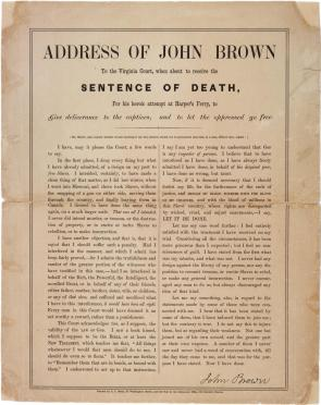 "John Brown, ""Address of John Brown to the Virginia Court..."" December, 1859 (Gilder Lehrman Collection)"