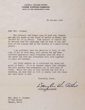 Douglas MacArthur to Mary Cushman, October 24, 1950. (GLC05508.173)