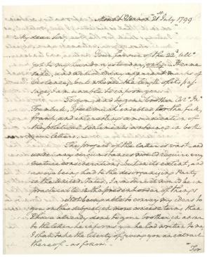 George Washington to Jonathan Trumbull Jr., July 21, 1799. (Gilder Lehrman Collection)