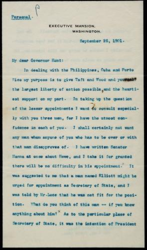 Theodore Roosevelt to William H. Hunt, September 26, 1901 (Gilder Lehrman Collection)
