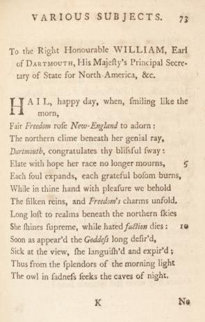 """""""To the Right Honourable William, Earl of Dartmouth"""" by Phillis Wheatley, in Poems on Various Subjects, Religious and Moral, London, 1773, page 73. (GLC06154)"""