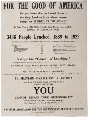 "NAACP, ""For the Good of America"" broadside, ca. 1926. (Gilder Lehrman Collection)"