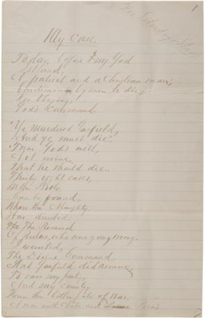 "Charles J. Guiteau, ""My Case"" [poem], June 1, 1882 (Gilder Lehrman Collection)"