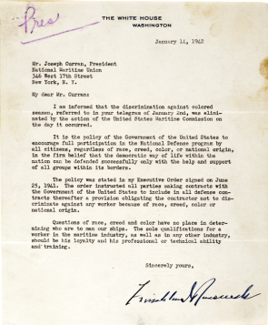 Franklin D. Roosevelt to Joseph Curran, January 14, 1942. (Gilder Lehrman Collec