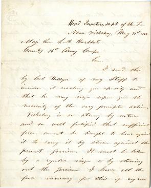 Ulysses S. Grant to Stephen A. Hurlbut, May 31, 1863 (Gilder Lehrman Collection)