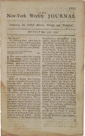 New-York Weekly Journal, May 19, 1735. (Gilder Lehrman Collection)