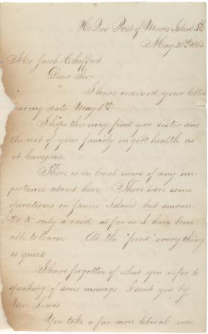 Francis H. Fletcher to Jacob C. Safford, May 28, 1864. (Gilder Lehrman Collectio