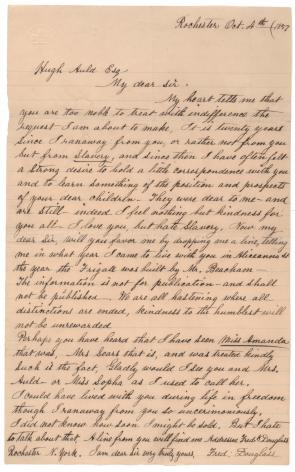 Frederick Douglass to Hugh Auld, October 4, 1857 (Gilder Lehrman Collection)