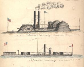 U.S. Ram Choctaw and U.S. Monitor Winnebago, May - July, 1864. (Gilder Lehrm