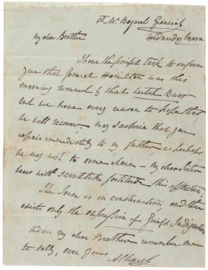 Angelica Schuyler Church to Philip Schuyler, July 11, 1804. (Gilder Lehrman
