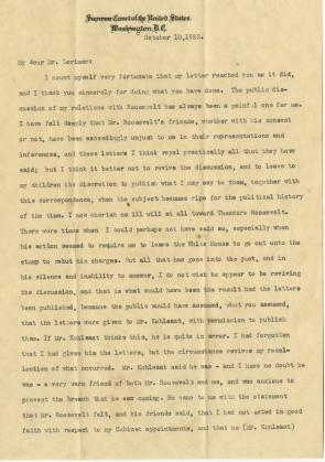 William Howard Taft to George Lorimer, October 10, 1922. ( GLC08052)