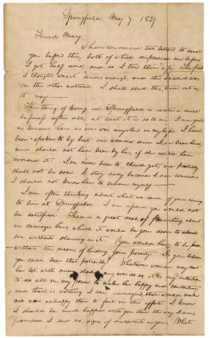 Abraham Lincoln to Mary Owens, May 7, 1837 (Gilder Lehrman Collection)