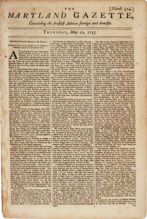 Maryland Gazette. No. 524 May 22, 1755.  (Gilder Lehrman Collection)