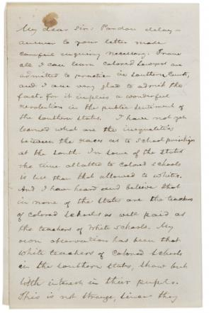 Frederick Douglass to unknown recipient, November 23, 1887 (Gilder Lehrman Collection)