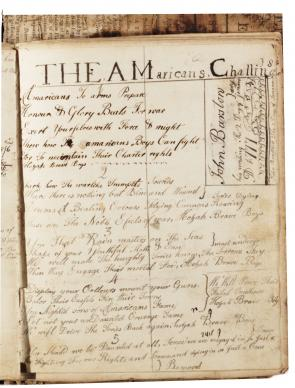 Poem written in John Barstow's math book, circa 1777. (Gilder Lehrman Collection