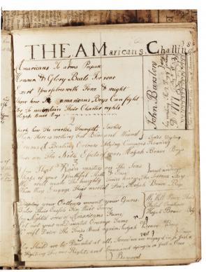 Poem written in John Barstow's math book, circa 1777. (Gilder Lehrman Collection