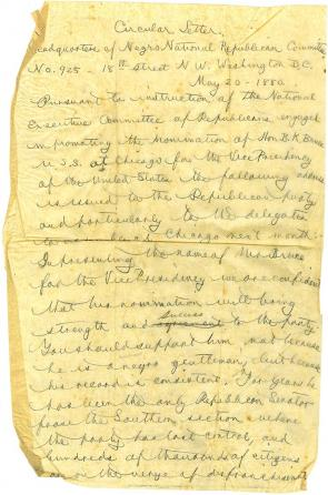 Draft of a circular letter by J. Milton Turner to Republican delegates at the National Convention, May 20, 1880. (GLC09400.133)