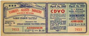 [Unused ticket, Yankees-Giants-Dodgers Double Header], April 14, 1943 (GLC09414)