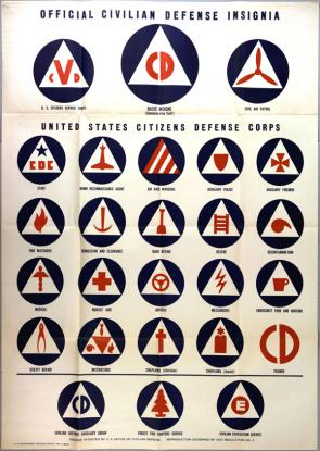 """Official Civilian Defense Insignia, United States Citizens Defense Corps,"" US Office of Civilian Defense, 1942 (GLC09520.36)"