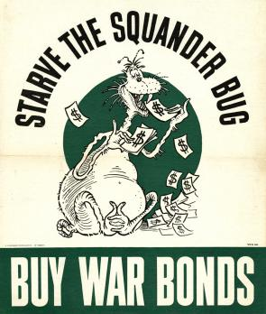 Starve the Squander Bug, a World War II poster encouraging Americans to buy war bonds, 1943 (GLC09524)