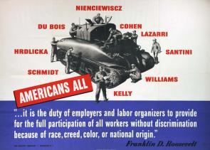 """Americans All,"" War Manpower Commission, 1942. (Gilder Lehrman Collection)"
