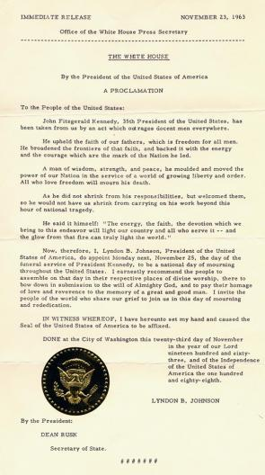 Lyndon B. Johnson, Proclamation 3561 - National Day of Mourning for President Kennedy, November 23, 1963. (GLC09533))