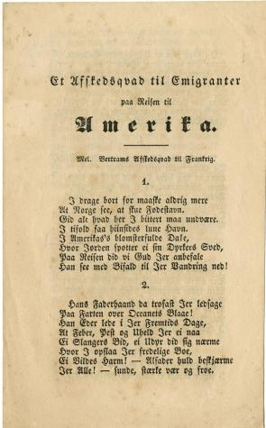 """[A Farewell Ode to Emigrants on Their Journey to America],"" Hamar, Norway, 1853 (GLC09535)"