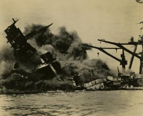 USS Arizona, December 7, 1941. (Gilder Lehrman Collection)