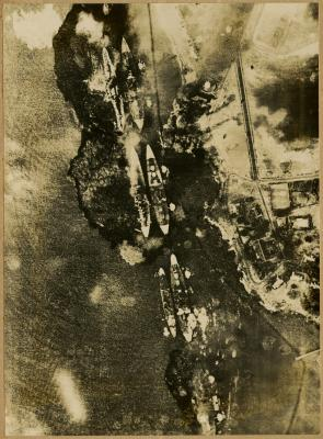 Japanese bombarding of Battleship row, December 7, 1941. (The Gilder Lehrman Col