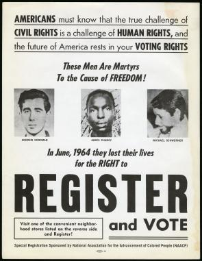 Register and Vote poster published by the NAACP, 1965. (The Gilder Lehrman Insti