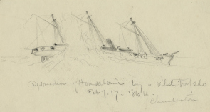 """Destruction of Housatonic"" by William Waud (Library of Congress)"