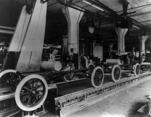 Assembly line at the Ford Motor Company's Highland Park plant,  ca. 1913 (Library of Congress Prints and Photographs Division)