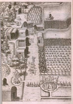 The Algonquian village of Secotan in present-day North Carolina, an engraving based on a 1585 drawing by John White, published in Americae pars decima, by Theodor de Bry (Oppenheimii: Typis H. Galleri, 1619). (Library of Congress Rare Book and Special Collections Division)