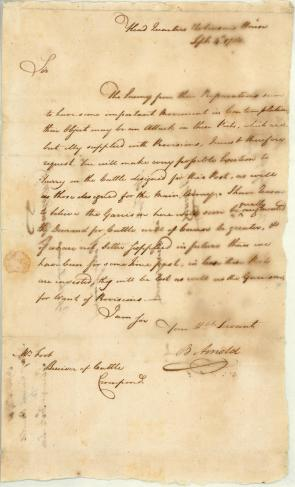 Benedict Arnold to Ebenezer Foote, September, 4 1780. (The Gilder Lehrman Collec