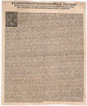 Bula de demarcación, que otorga a España la posesión del Nuevo Mundo, 4 de mayo de 1493.