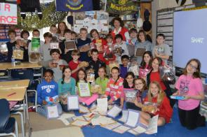 "Mary Huffman and her social studies class sending ""Treats 4 Troops"""