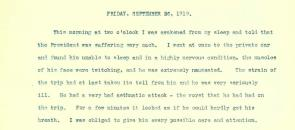 Diary of Dr. Cary Grayson, 1919, page 58. (Courtesy of the Woodrow Wilson Presid