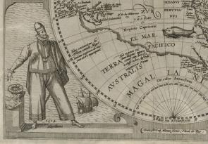 Imaginative depiction of Magellan from a map published in Americae nona & postrema pars, edited by Theodor de Bry (Frankfurt: Apud M. Beckerum, 1602). (Library of Congress Rare Book and Special Collections Division)