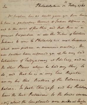 Letter to William Johnson, British commissioner of Northern Indian Affairs, 1761. (Gilder Lehrman Collection)