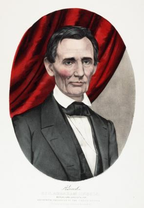 Abraham Lincoln campaign print for the election of 1860, Currier and Ives, 1860. (GLC02132.01)