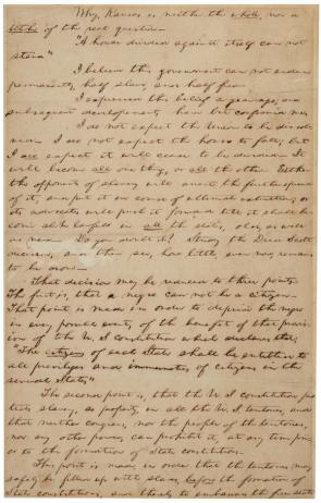 "Abraham Lincoln's notes for the ""House Divided"" speech, ca. December 1857 (GLC02533)"