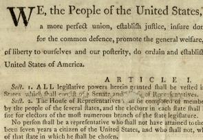 Detail from the Preamble to the US Constitution, 1787. (GLC03585)