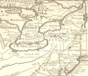Detail of the Great Lakes region in 1718, from Carte de la Louisiane et du cours du Mississippi, by Guillaume de l'Isle. (Gilder Lehrman Collection)