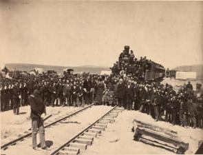 Joining of the rails, May 10, 1869, by Andrew Russell (GLC04481.04)